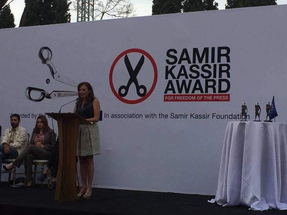 Jiselle Khoury, vedova del giornalista a cui è intitolato il premio pewr la libertà di stampa Samir Kassir