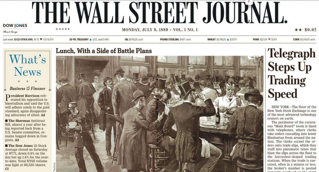 8 luglio 1889: nasceva il Wall Street Journal