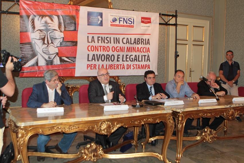 Da sinistra: Giuseppe Soluri, Carlo Parisi, Franco Siddi, Nicola Gratteri e mons. Salvatore Nunnari
