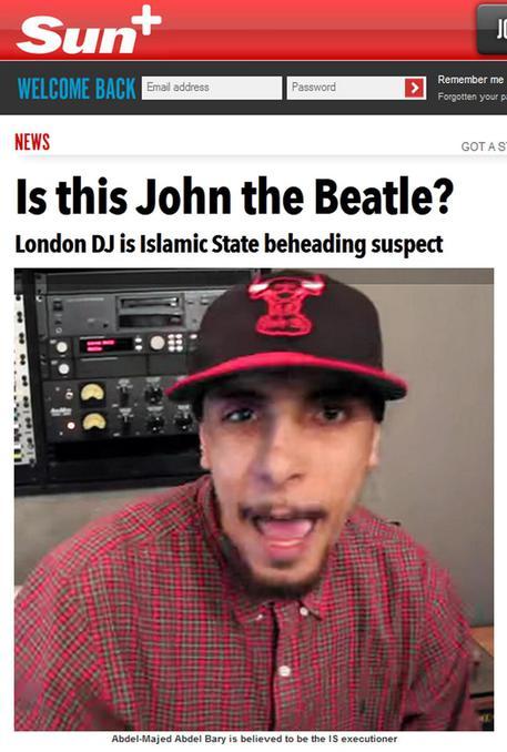 """La copertina del Sun dedicata ad Abdel-Majed Abdel, noto come John, sospettato di essere """"the beatle"""", il boia"""