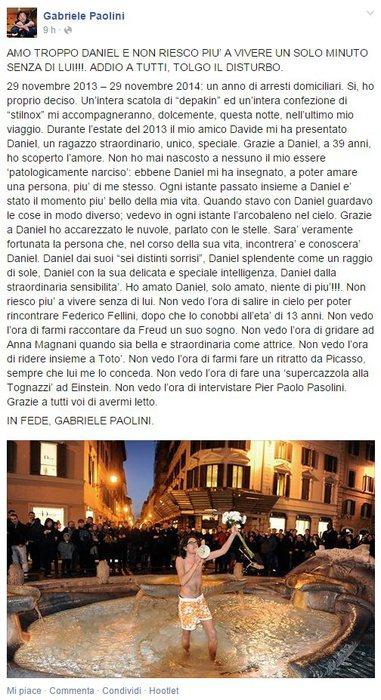 Il messaggio postato da Paolini sulla sua pagina Facebook