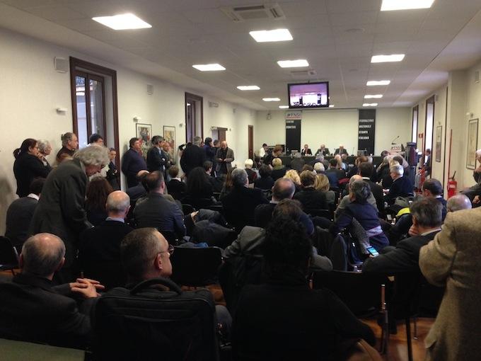 Il Consiglio nazionale della Fnsi riunito oggi per l'elezione della Giunta Esecutiva (Foto Giornalisti Italia)
