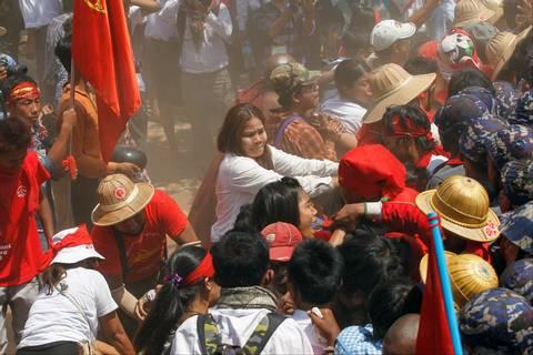 Una recente protesta studentesca in Myanmar