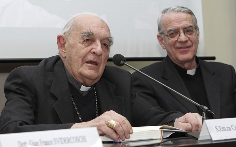 Il cardinale Roberto Tucci con Padre Federico Lombardi (Cns/Paul Haring)