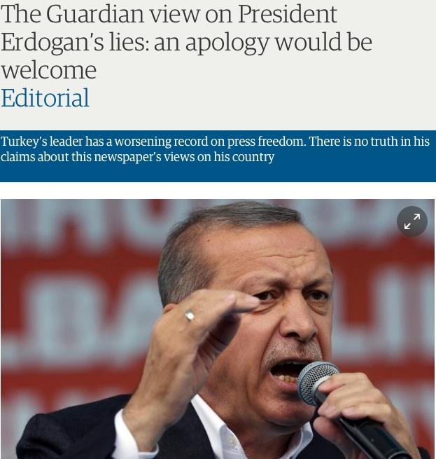 Il Guardian on line con l'editoriale su Erdogan