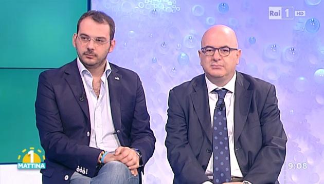I giornalisti Paolo Borrometi e Carlo Parisi a Uno Mattina