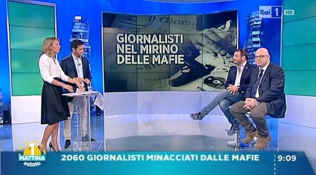 Mia Ceran, Alessio Zucchini, Paolo Borrometi e Carlo Parisi a Uno Mattina
