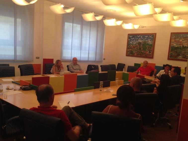 Uno degli incontri in Confindustria per l'esame congiunto della vertenza Teleuropa