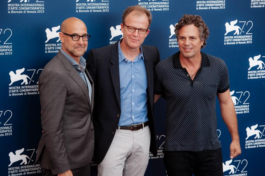 Da sinistra: Stanley Tucci, Thomas McCarthy e Mark Ruffalo