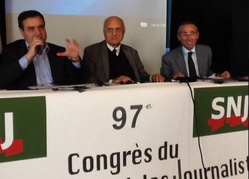 Da sinistra: Franco Siddi, Mario Guastoni e Raffaele Lorusso al congresso Snj