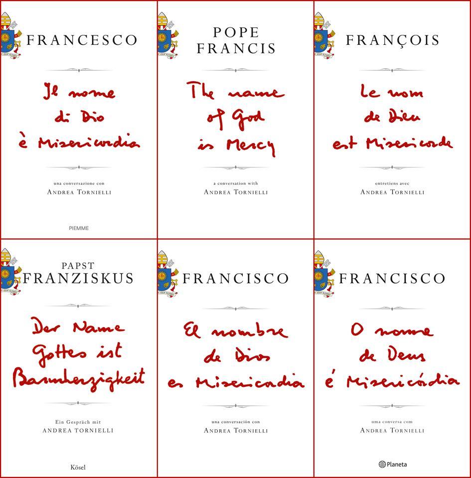 Le 6 copertine con il titolo in altrettante lingue vergato di suo pugno da Papa Francesco