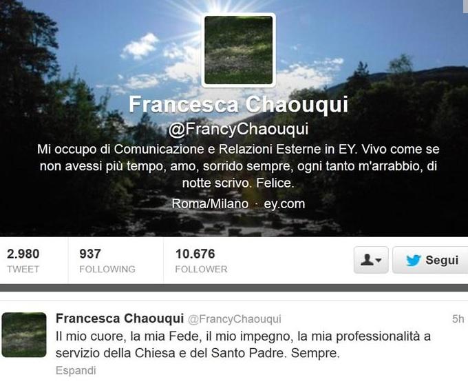 Il tweet di Francesca Chaouqui al momento della nomina