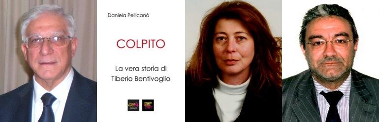 """Da sinistra: Tiberio Bentivoglio, la copertina del libro """"Colpito"""", la giornalista Daniela Pellicanò e l'avv. Rosario Errante dell'Ufficio Legale del Sindacato Giornalisti della Calabria"""