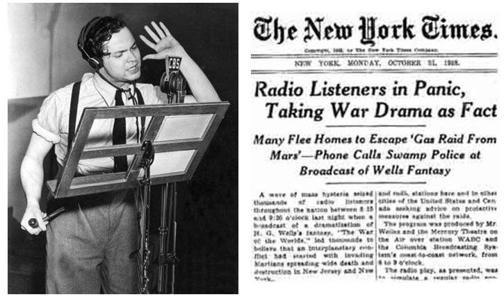 La diretta radiofonica di Orson Wells e la prima pagina del New York Times che racconta il falso scoop