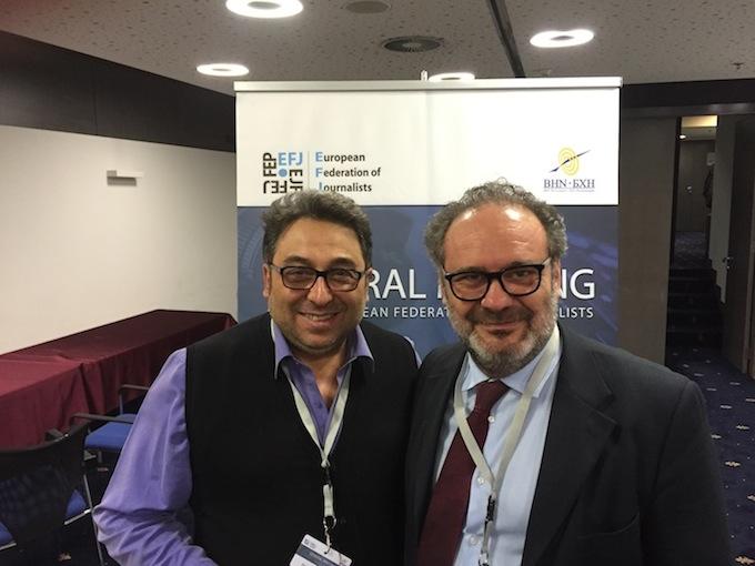 Chezzi e Pietro Masiello al General Meeting Efj di Sarajevo (Foto Giornalisti Italia)