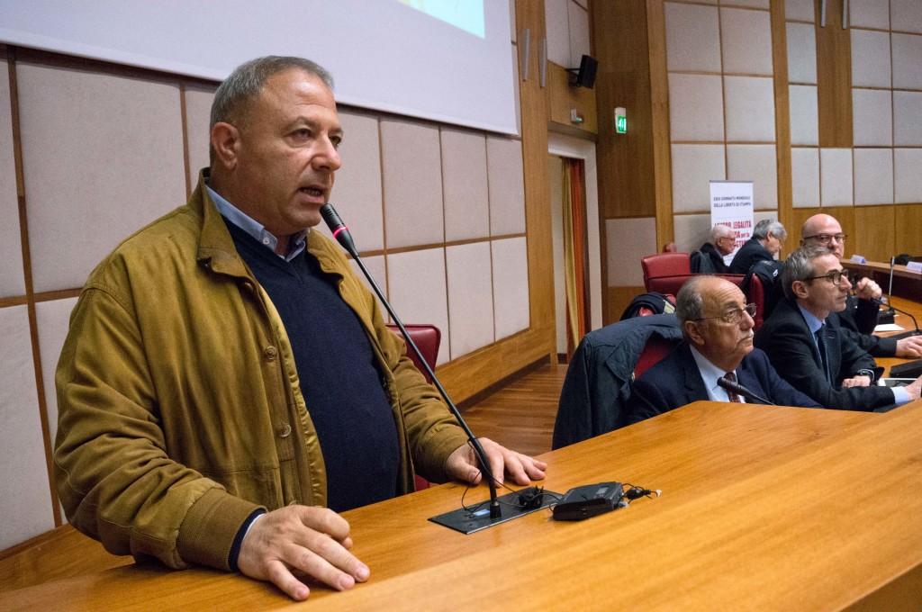 La testimonianza di Michele Albanese nella XXIII Giornata mondiale della libertà di stampa a Reggio Calabria (Foto Giornalisti Italia)