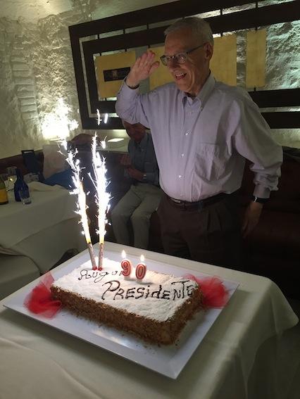 """La festa per i 90 anni di Gino Falleri oggi al ristorante """"Il Piccolo Mondo"""" di Roma (Foto Giornalisti Italia)"""