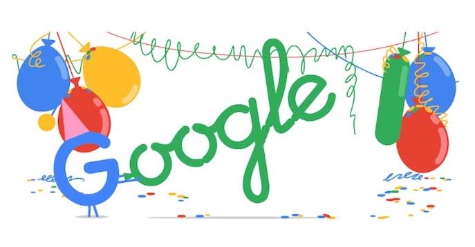 Il doodle con cui Google celebra oggi i suoi 18 anni