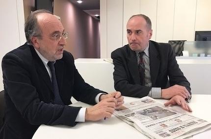 Giuseppe Giulietti e Stafano Scansani, direttore della Gazzetta di Reggio