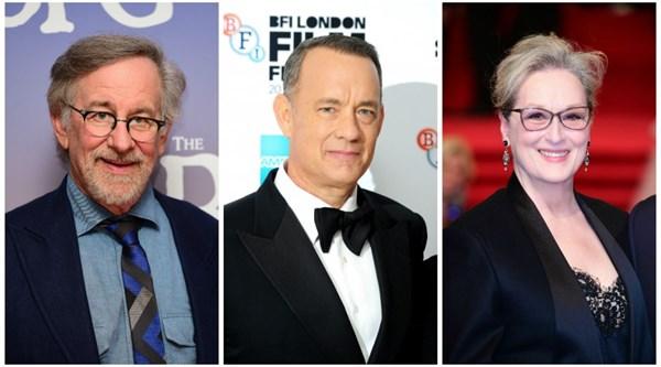 Da sinistra: Steven Spielberg, Tom Hanks e Meryl Streep