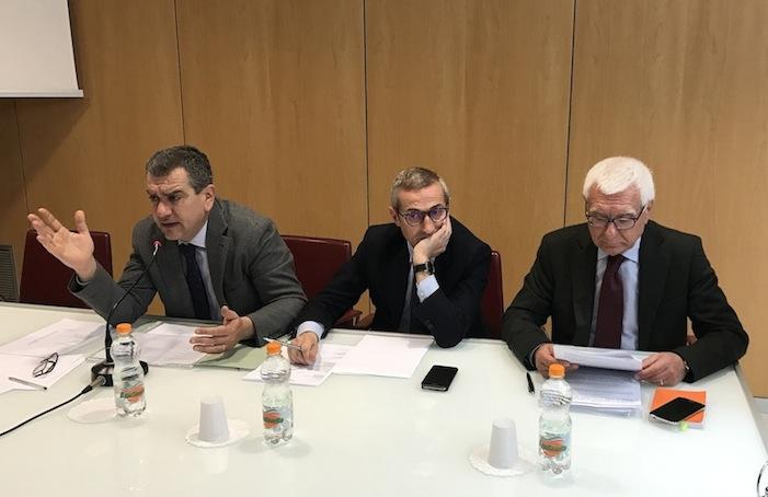 Bepi Martellotta, Giancarlo Tartaglia e Raffaele Lorusso ieri a Bari