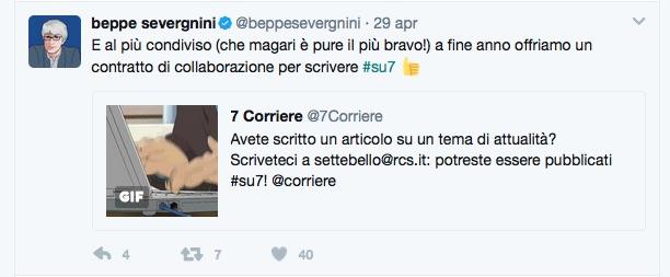 """Il post di Beppe Severgnini che offre un contratto di collaborazione ad un lettore, """"magari il più bravo""""..."""