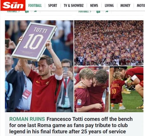 The Sun rende omaggio a Francesco Totti