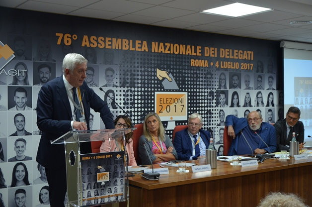 Daniele Cerrato nel corso della 76ª Assemblea nazionale dei delegati della Casagit