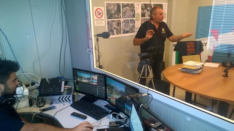 La regia di Tele Radio Amatrice donata dai giornalisti pensionati dell'Ungp