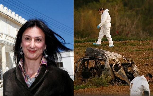 Daphne Caruana Galizia e, a destra, la sua auto dopo l'esplosione dell'autobomba