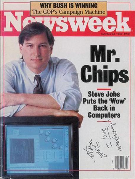 Il numero del Newsweek con l'autografo di Steve Jobs