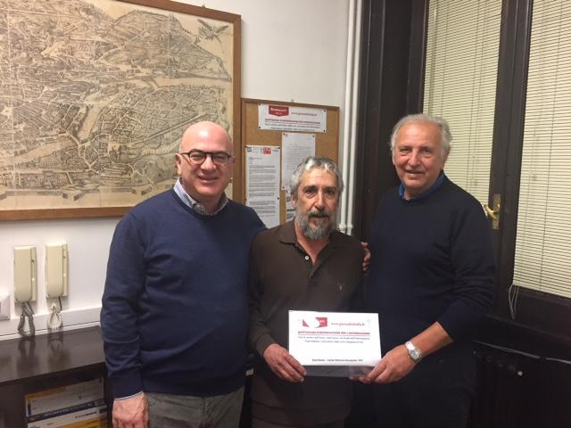 Carlo Parisi, Christos Christofides e Lorenzo Del Boca nella redazione di Giornalisti Italia