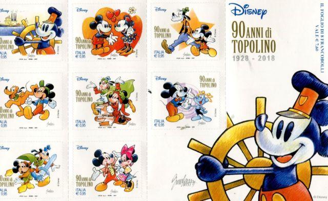 Gli 8 francobolli emessi per i 90 anni di Topolino