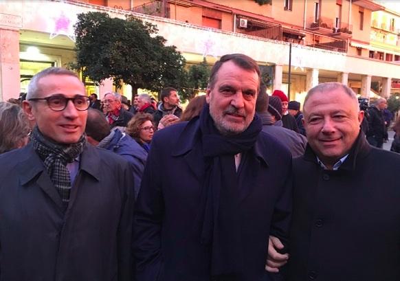 Raffaele Lorusso e Michele Albanese con Marco Tardelli alla manifestazione di Ostia contro le mafie