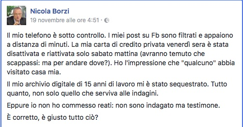 Il post di Nicola Borzi su Facebook