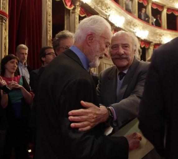 Rolando Montesperelli con Eugenio Scalfari