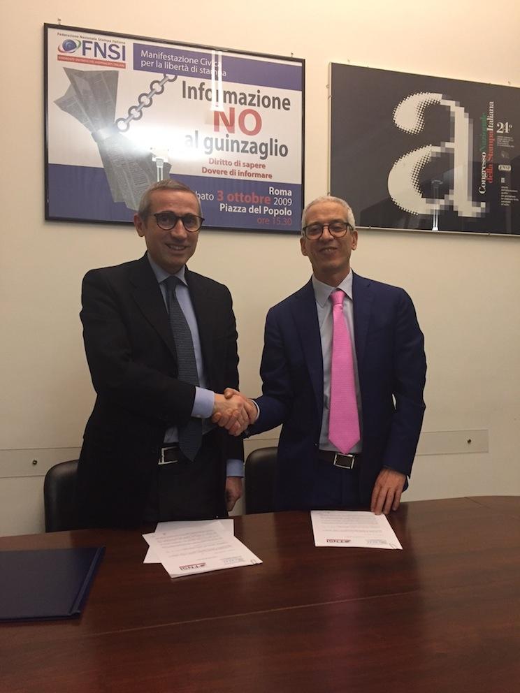 Il patto di alleanza tra Fnsi e Cisal sottoscritto dai segretari generali Raffaele Lorusso e Francesco Cavallaro