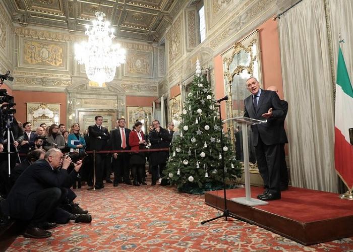 Pietro Grasso stamane all'incontro con la Stampa parlamentare (foto Senato Stampa)