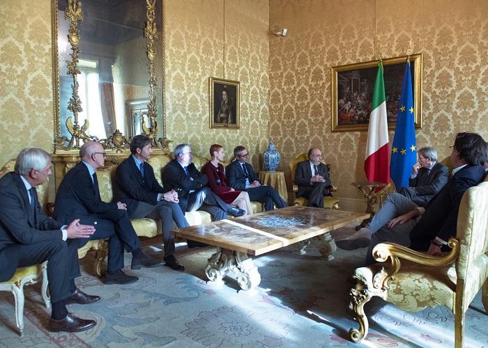 L'incontro di Paolo Gentiloni a Palazzo Chigi  con i rappresentanti degli istituti di categoria dei giornalisti