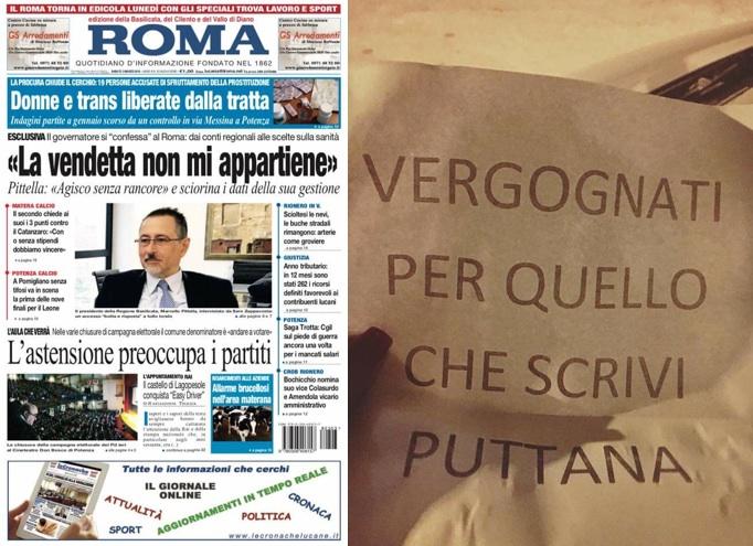 La prima pagina di oggi dell'edizione lucana dl quotidiano Il Roma e il foglio lasciato sul parabrezza dell'auto della giornalista