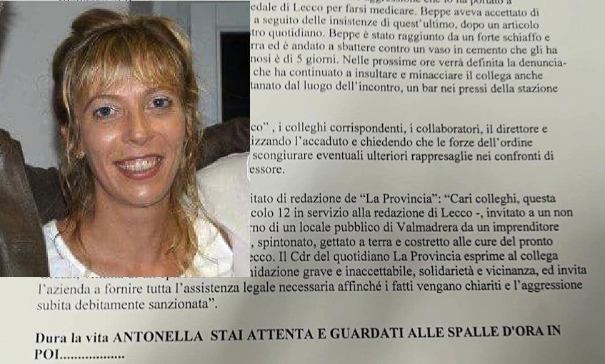 L'e-mail intimidatoria recapitata ad Antonella Crippa (nel riquadro)