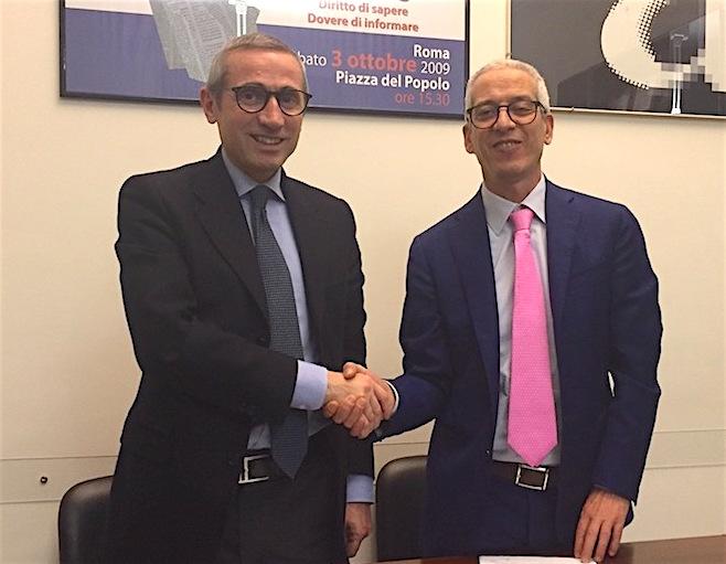I segretari generali di Fnsi e Cisal, Raffaele Lorusso e Francesco Cavallaro (foto Giornalisti Italia)