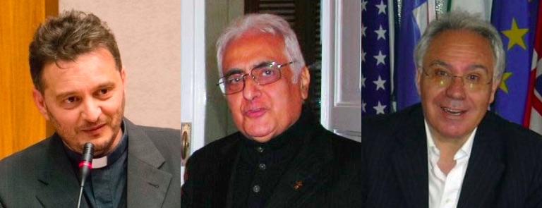 don Valerio Chiovaro, don Pippo Curatola (consulente ecclesiastico dell'Ucsi Calabria) e Domenico Nunnari
