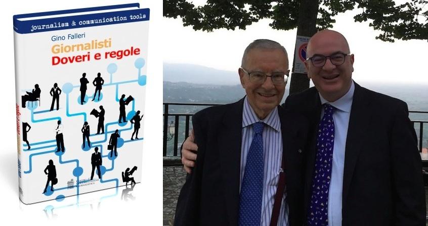 Da sinistra: la copertina dell'ultimo libro di Gino Falleri, al centro della foto con Carlo Parisi